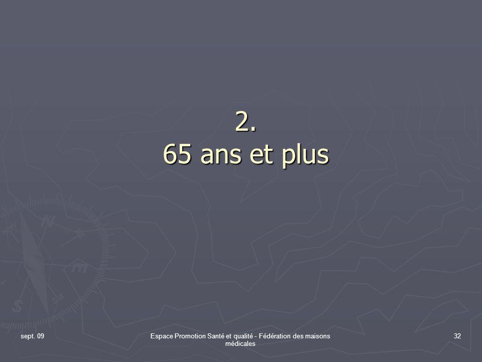 sept. 09Espace Promotion Santé et qualité - Fédération des maisons médicales 32 2. 65 ans et plus