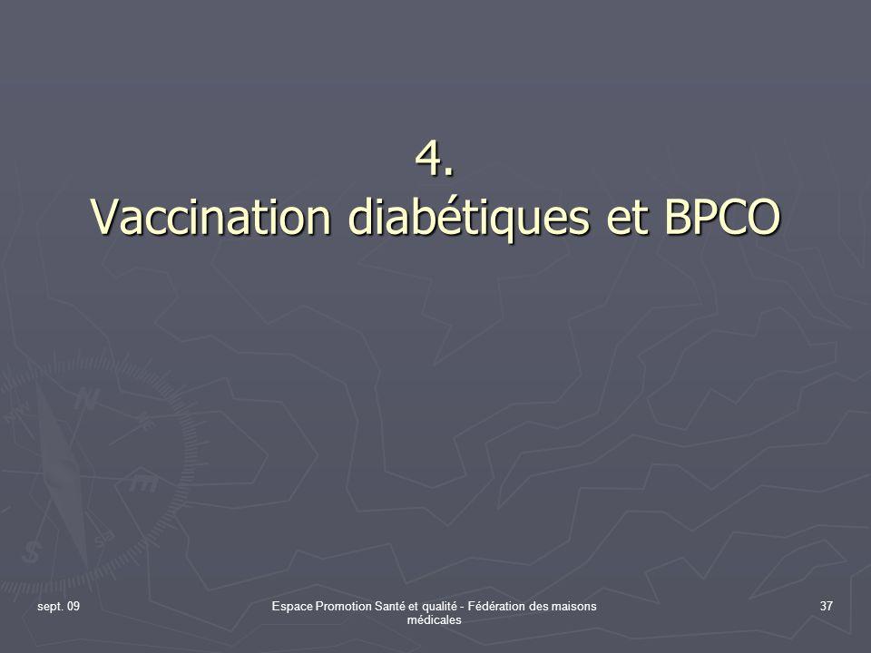 sept. 09Espace Promotion Santé et qualité - Fédération des maisons médicales 37 4. Vaccination diabétiques et BPCO