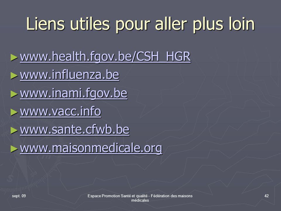 sept. 09Espace Promotion Santé et qualité - Fédération des maisons médicales 42 Liens utiles pour aller plus loin www.health.fgov.be/CSH_HGR www.healt
