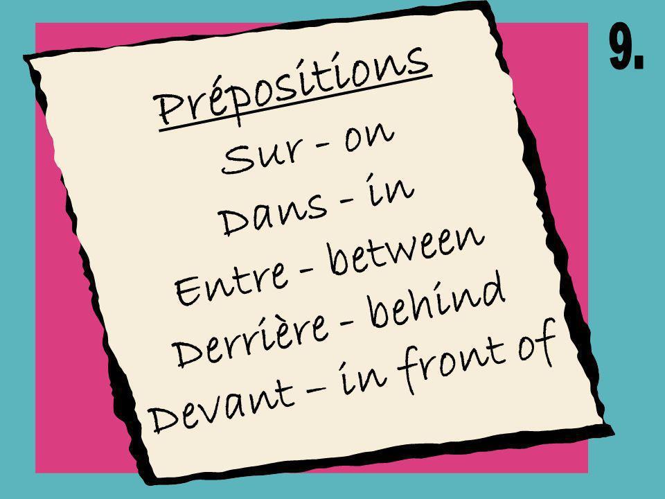 Prépositions Sur - on Dans - in Entre - between Derrière - behind Devant – in front of