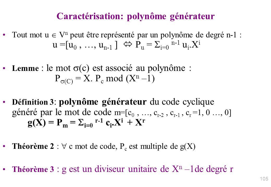 Caractérisation: polynôme générateur Tout mot u V n peut être représenté par un polynôme de degré n-1 : u =[u 0, …, u n-1 ] P u = i=0 n-1 u i.X i Lemm