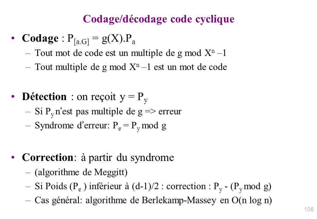 Codage/décodage code cyclique Codage : P [a.G] = g(X).P a –Tout mot de code est un multiple de g mod X n –1 –Tout multiple de g mod X n –1 est un mot