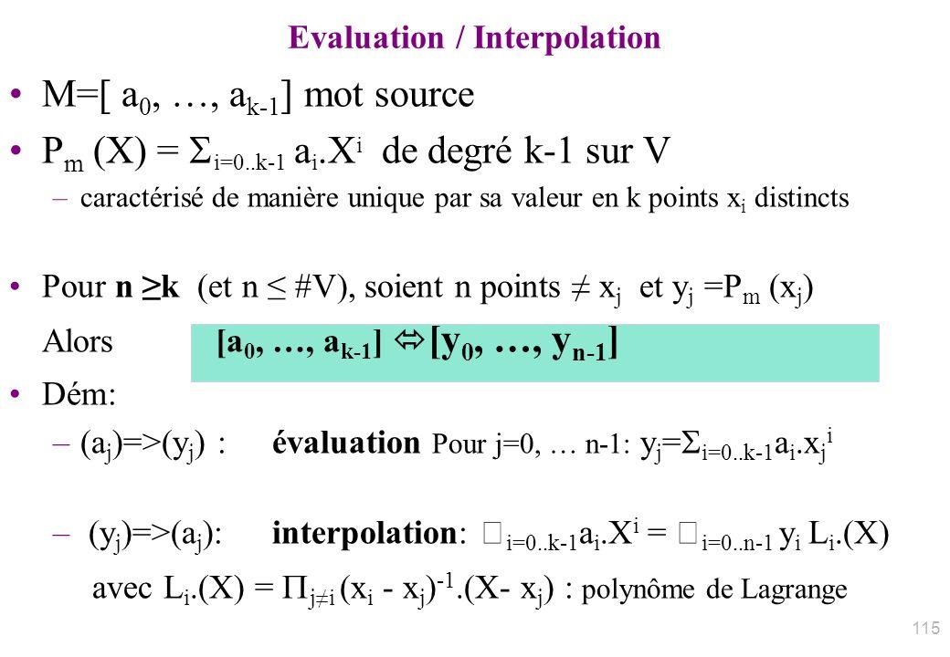 M=[ a 0, …, a k-1 ] mot source P m (X) = i=0..k-1 a i.X i de degré k-1 sur V –caractérisé de manière unique par sa valeur en k points x i distincts Po