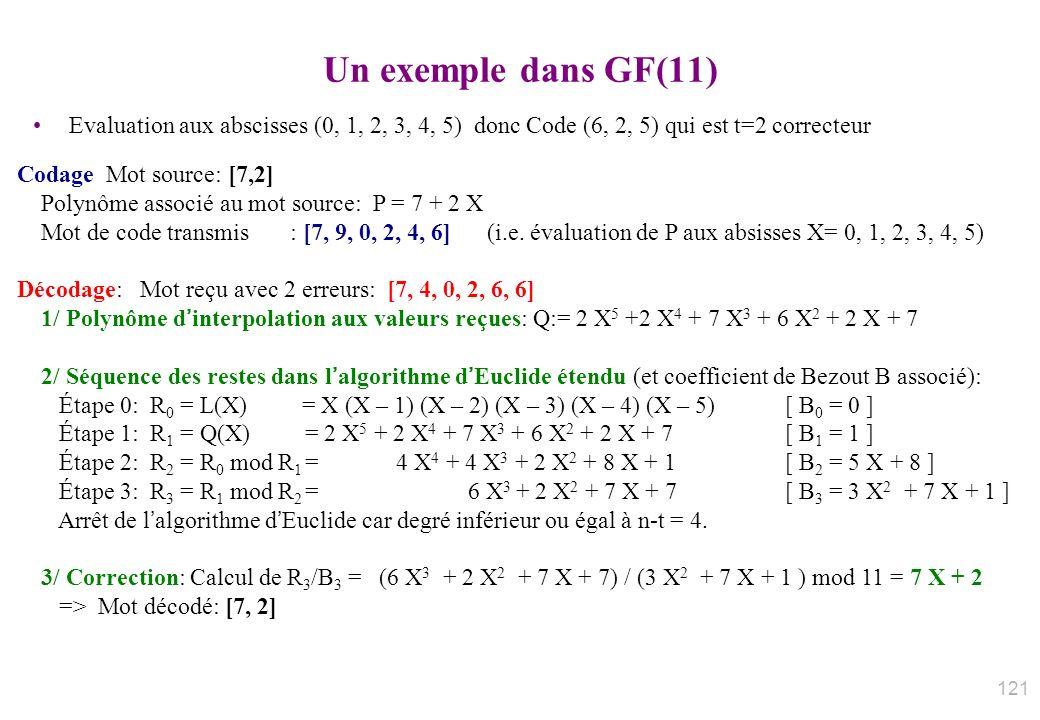 Un exemple dans GF(11) Evaluation aux abscisses (0, 1, 2, 3, 4, 5) donc Code (6, 2, 5) qui est t=2 correcteur Codage Mot source: [7,2] Polynôme associ