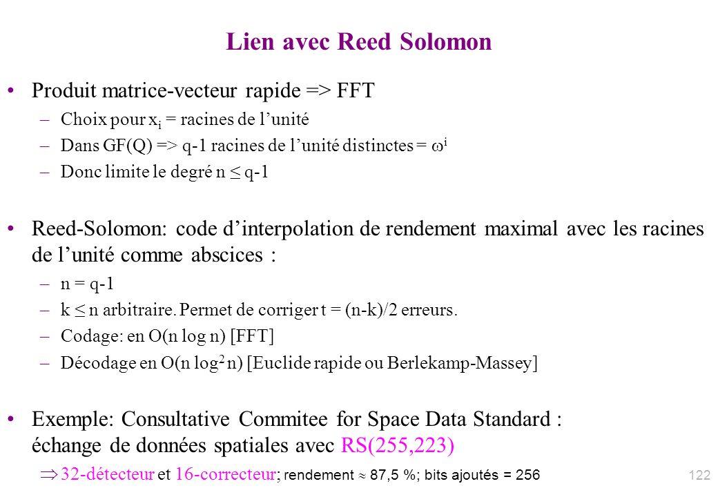 Lien avec Reed Solomon Produit matrice-vecteur rapide => FFT –Choix pour x i = racines de lunité –Dans GF(Q) => q-1 racines de lunité distinctes = i –