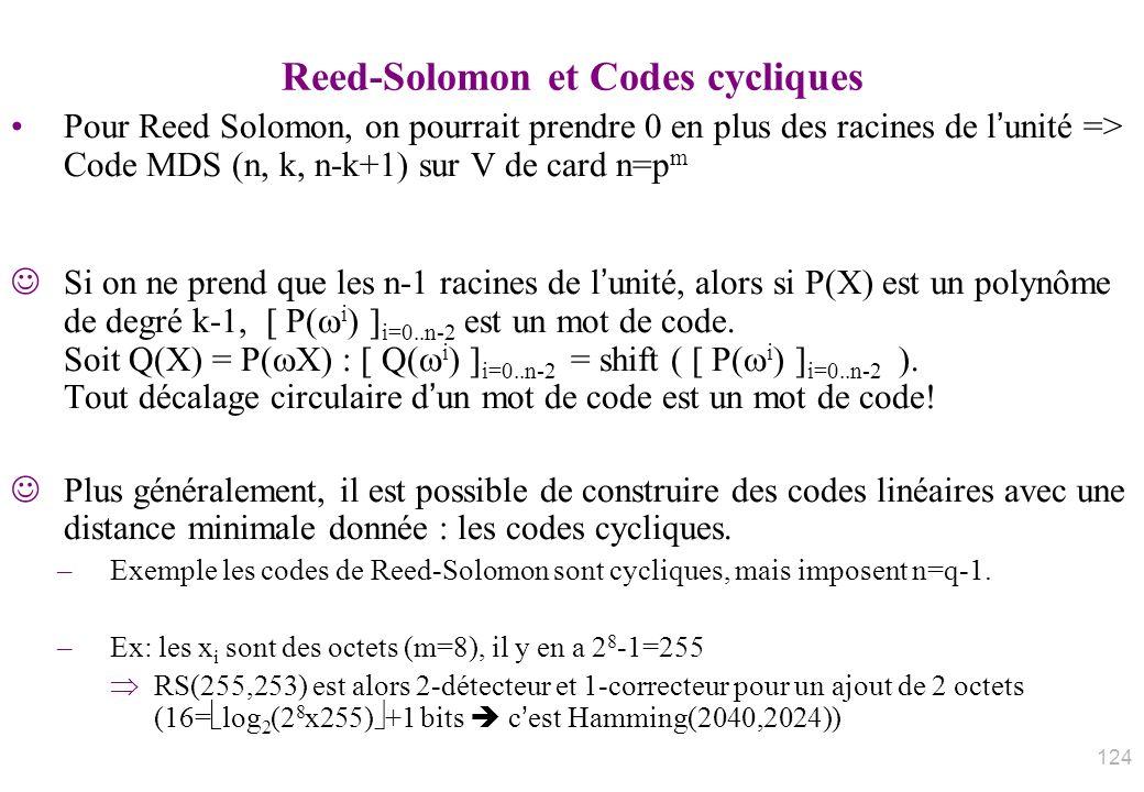 Reed-Solomon et Codes cycliques Pour Reed Solomon, on pourrait prendre 0 en plus des racines de lunité => Code MDS (n, k, n-k+1) sur V de card n=p m S