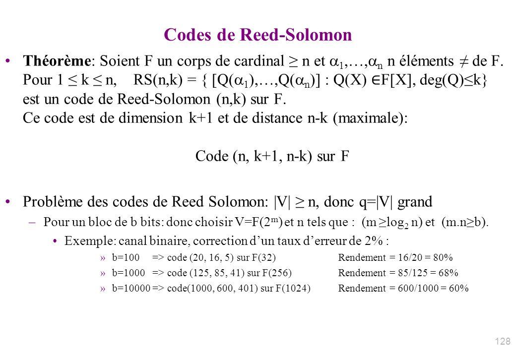 Codes de Reed-Solomon Théorème: Soient F un corps de cardinal n et 1,…, n n éléments de F. Pour 1 k n, RS(n,k) = { [Q( 1 ),…,Q( n )] : Q(X) F[X], deg(