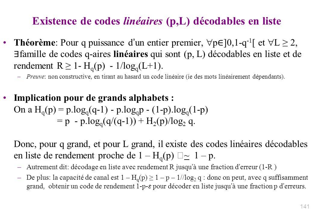Existence de codes linéaires (p,L) décodables en liste Théorème: Pour q puissance dun entier premier, p ]0,1-q -1 [ et L 2, famille de codes q-aires l