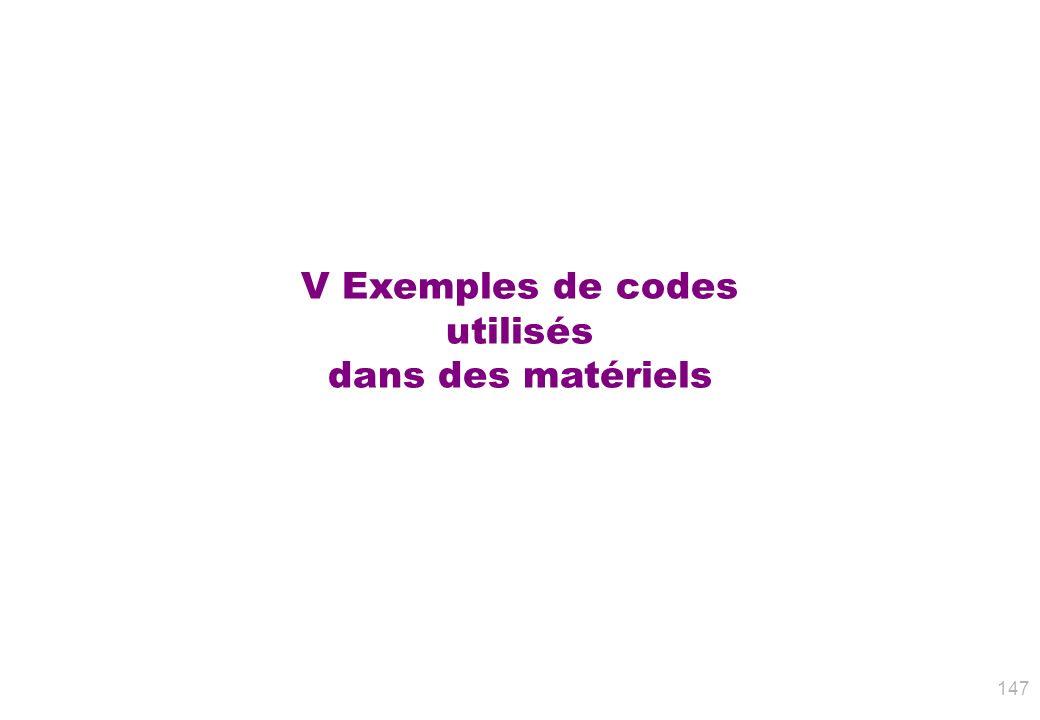 V Exemples de codes utilisés dans des matériels 147