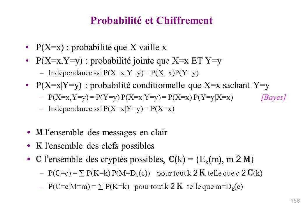 Probabilité et Chiffrement P(X=x) : probabilité que X vaille x P(X=x,Y=y) : probabilité jointe que X=x ET Y=y –Indépendance ssi P(X=x,Y=y) = P(X=x)P(Y