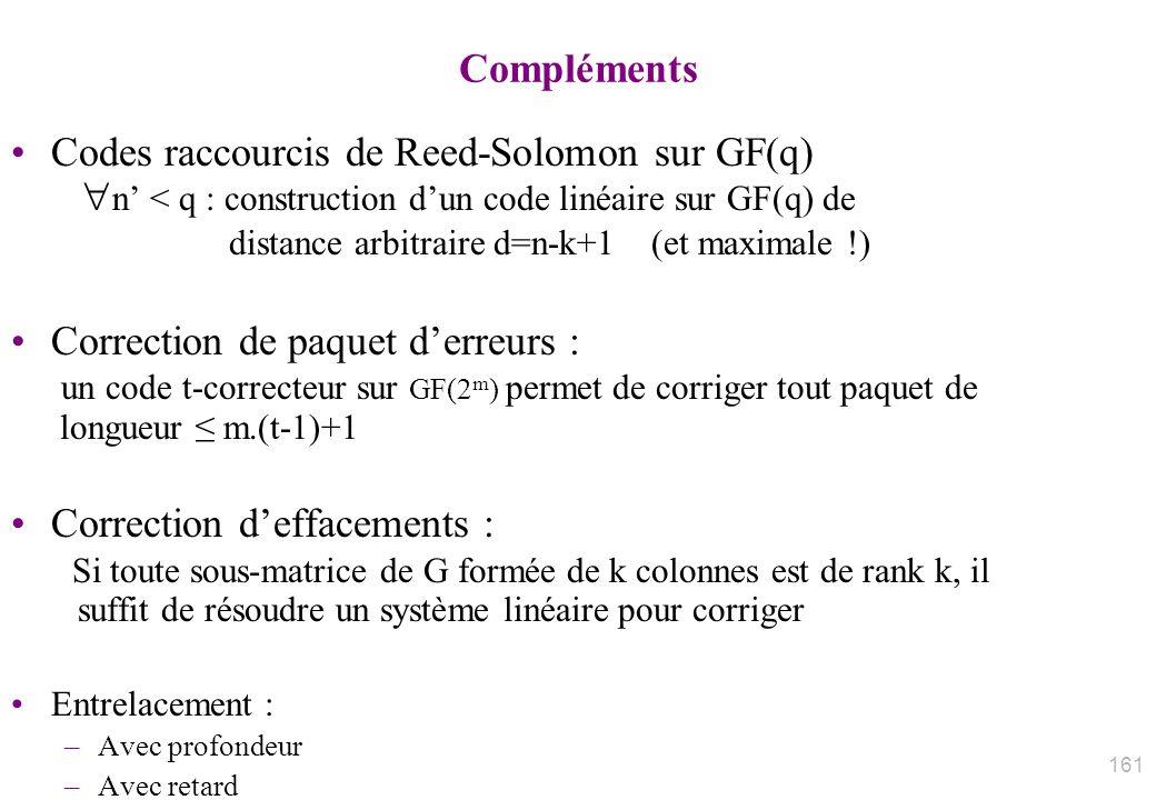 Compléments Codes raccourcis de Reed-Solomon sur GF(q) n < q : construction dun code linéaire sur GF(q) de distance arbitraire d=n-k+1 (et maximale !)