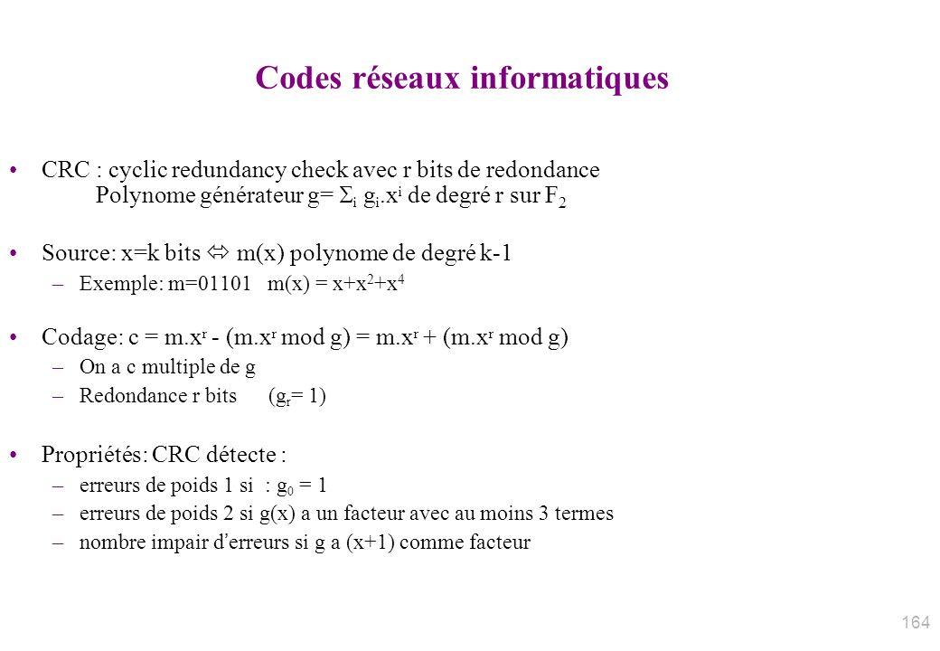 Codes réseaux informatiques CRC : cyclic redundancy check avec r bits de redondance Polynome générateur g= i g i.x i de degré r sur F 2 Source: x=k bi