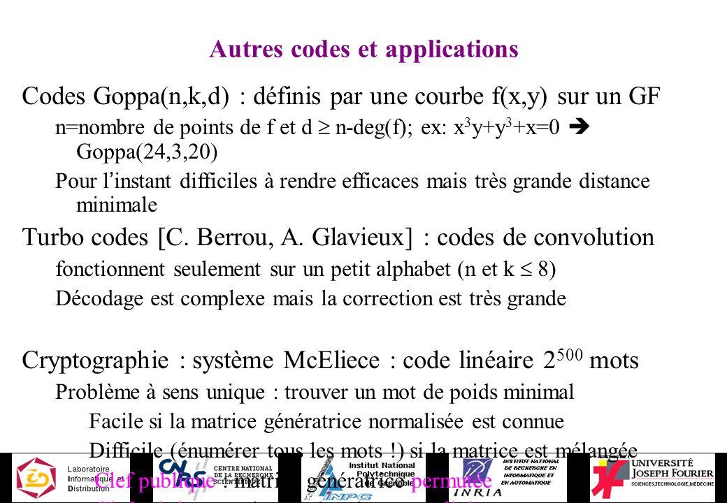 Autres codes et applications Codes Goppa(n,k,d) : définis par une courbe f(x,y) sur un GF n=nombre de points de f et d n-deg(f); ex: x 3 y+y 3 +x=0 Go