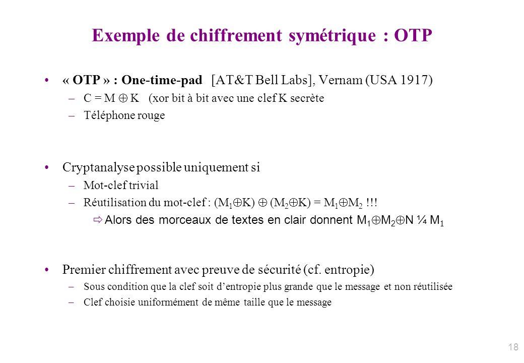 Exemple de chiffrement symétrique : OTP « OTP » : One-time-pad [AT&T Bell Labs], Vernam (USA 1917) –C = M K (xor bit à bit avec une clef K secrète –Té
