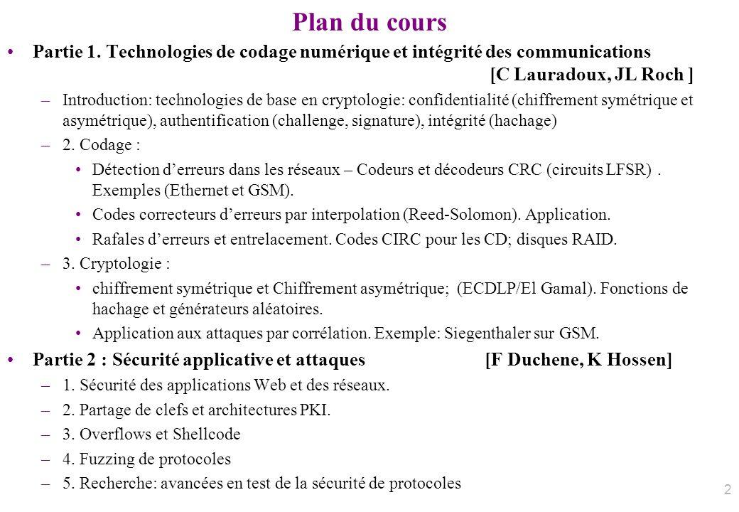 Plan du cours Partie 1. Technologies de codage numérique et intégrité des communications [C Lauradoux, JL Roch ] –Introduction: technologies de base e