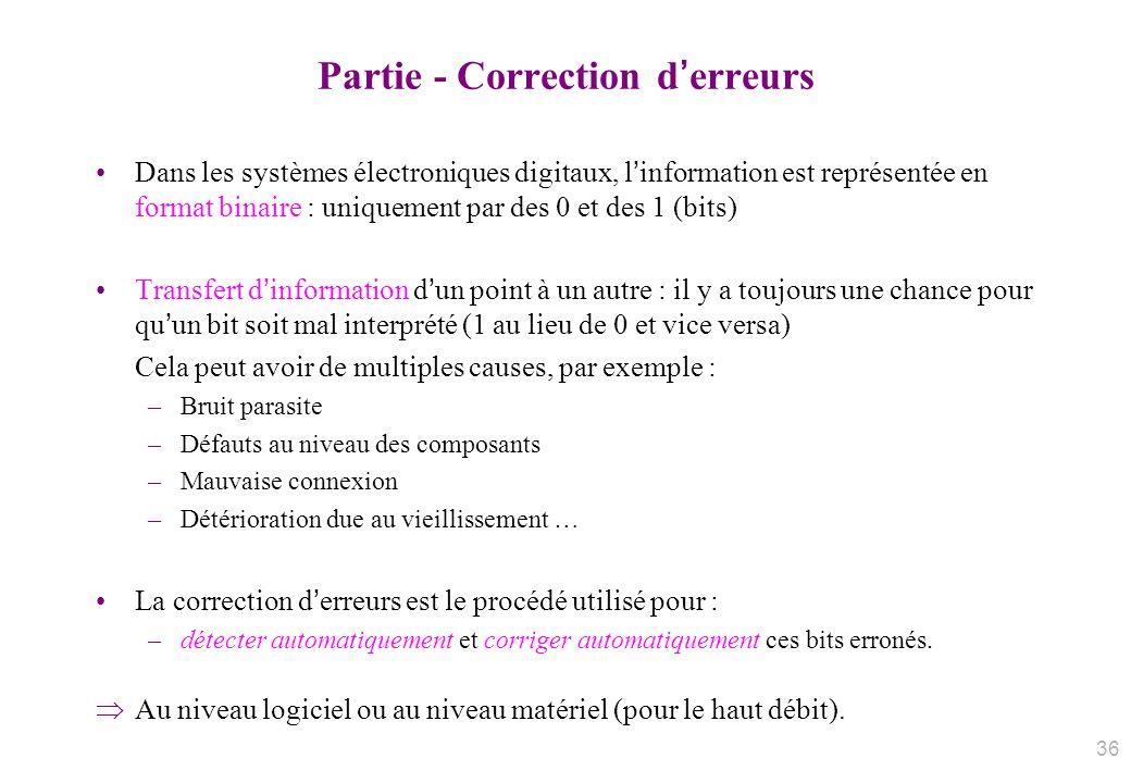 Partie - Correction derreurs Dans les systèmes électroniques digitaux, linformation est représentée en format binaire : uniquement par des 0 et des 1