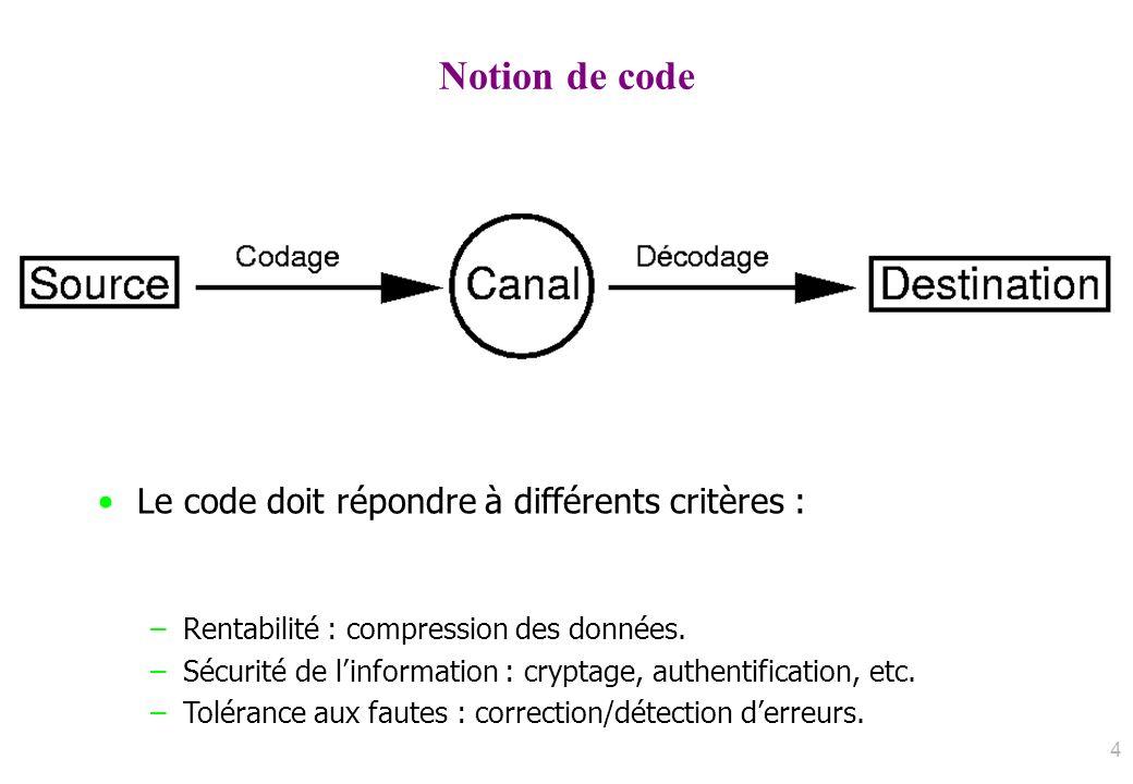 Notion de code Le code doit répondre à différents critères : –Rentabilité : compression des données. –Sécurité de linformation : cryptage, authentific