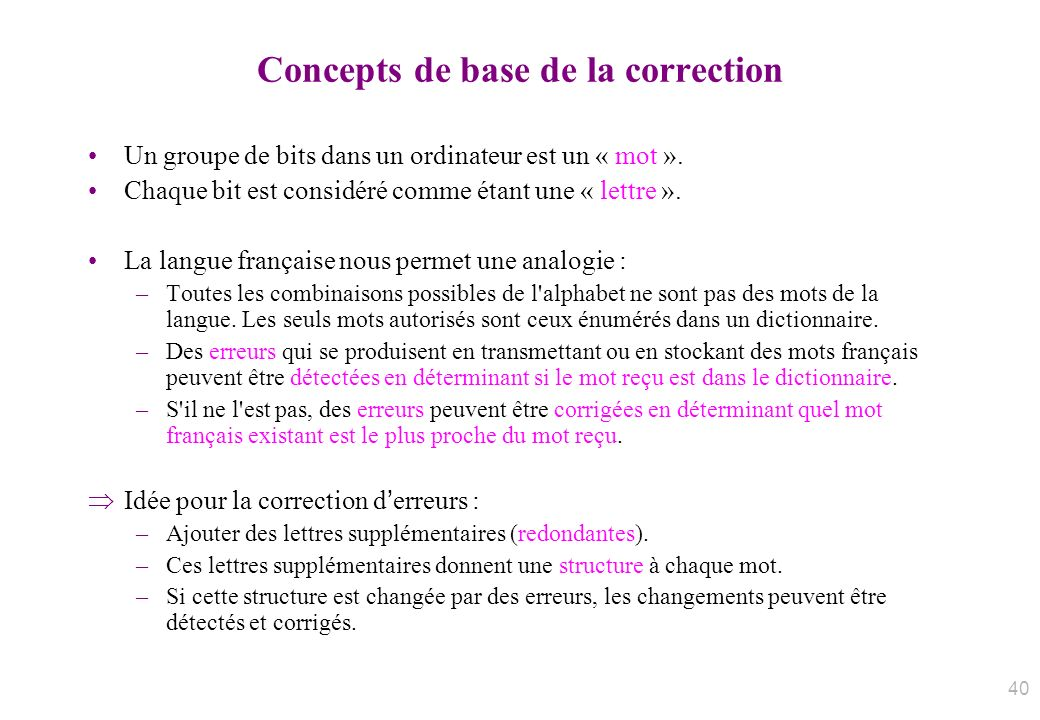 Concepts de base de la correction Un groupe de bits dans un ordinateur est un « mot ». Chaque bit est considéré comme étant une « lettre ». La langue