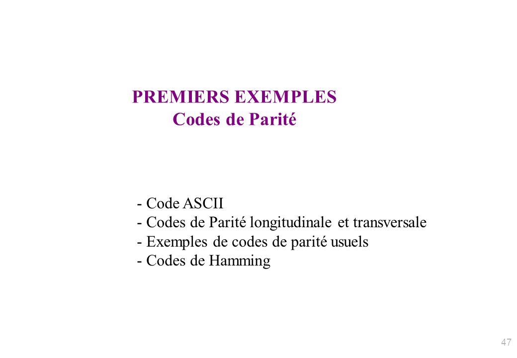 PREMIERS EXEMPLES Codes de Parité - Code ASCII - Codes de Parité longitudinale et transversale - Exemples de codes de parité usuels - Codes de Hamming