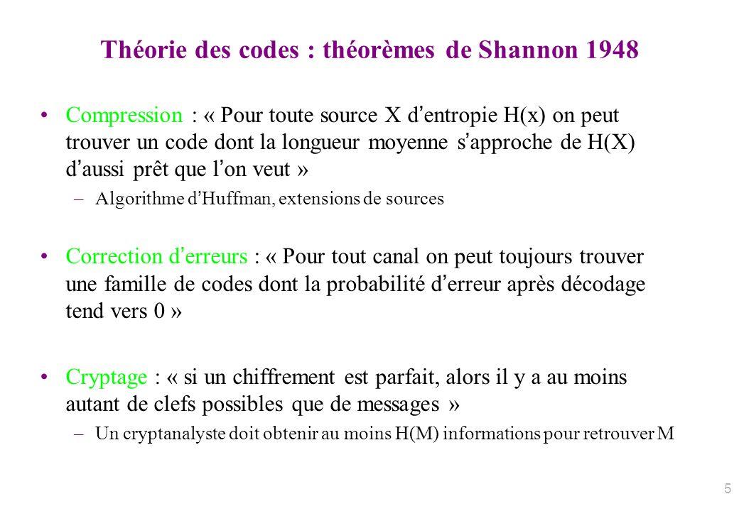 Théorie des codes : théorèmes de Shannon 1948 Compression : « Pour toute source X dentropie H(x) on peut trouver un code dont la longueur moyenne sapp