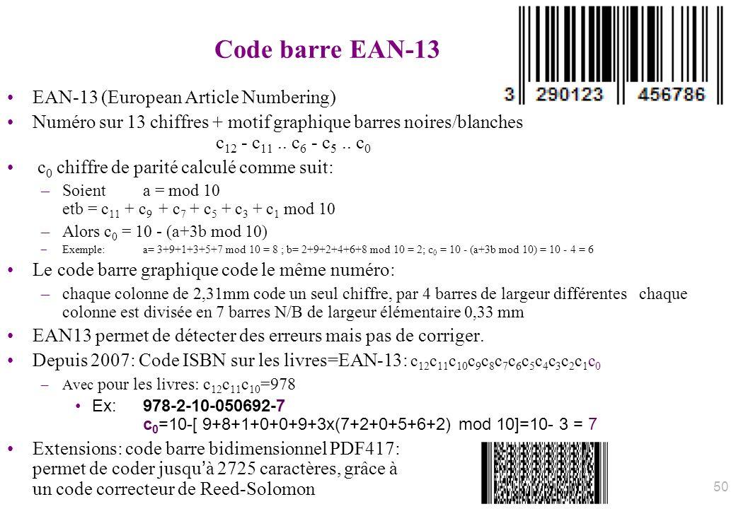 Code barre EAN-13 EAN-13 (European Article Numbering) Numéro sur 13 chiffres + motif graphique barres noires/blanches c 12 - c 11.. c 6 - c 5.. c 0 c