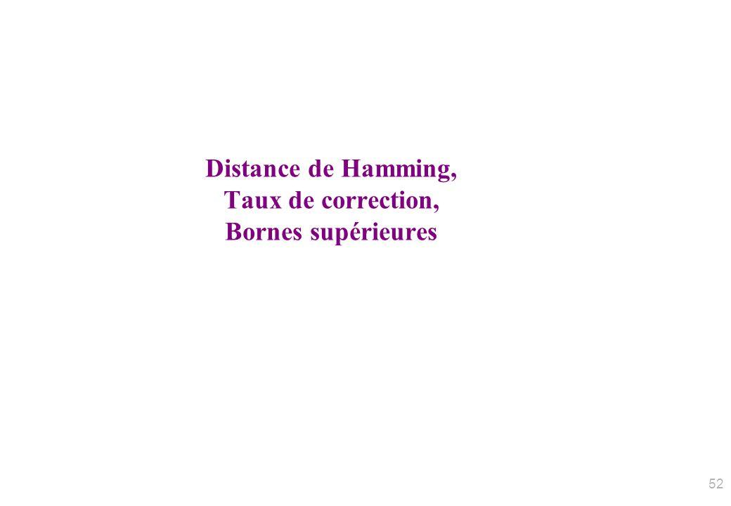 Distance de Hamming, Taux de correction, Bornes supérieures 52