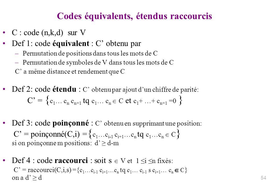 Codes équivalents, étendus raccourcis C : code (n,k,d) sur V Def 1: code équivalent : C obtenu par –Permutation de positions dans tous les mots de C –