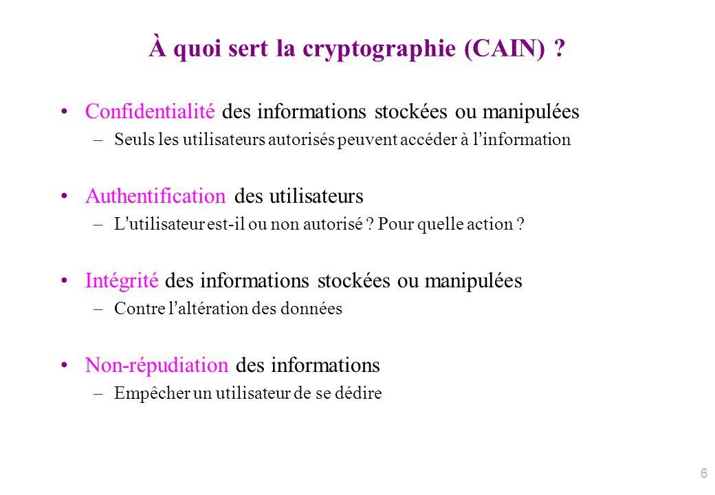 À quoi sert la cryptographie (CAIN) ? Confidentialité des informations stockées ou manipulées –Seuls les utilisateurs autorisés peuvent accéder à linf