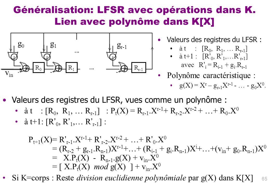 65 Valeurs des registres du LFSR, vues comme un polynôme : à t : [R 0, R 1, … R r-1 ] : P t (X) = R r-1.X r-1 + R r-2.X r-2 + …+ R 0.X 0 à t+1: [R 0,