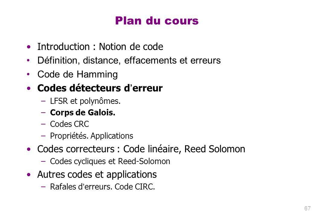 Plan du cours Introduction : Notion de code Définition, distance, effacements et erreurs Code de Hamming Codes détecteurs derreur –LFSR et polynômes.