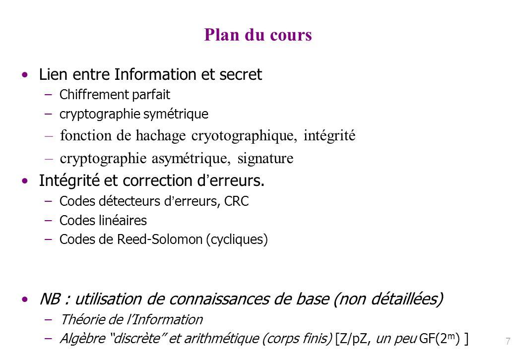 Plan du cours Lien entre Information et secret –Chiffrement parfait –cryptographie symétrique –fonction de hachage cryotographique, intégrité –cryptog