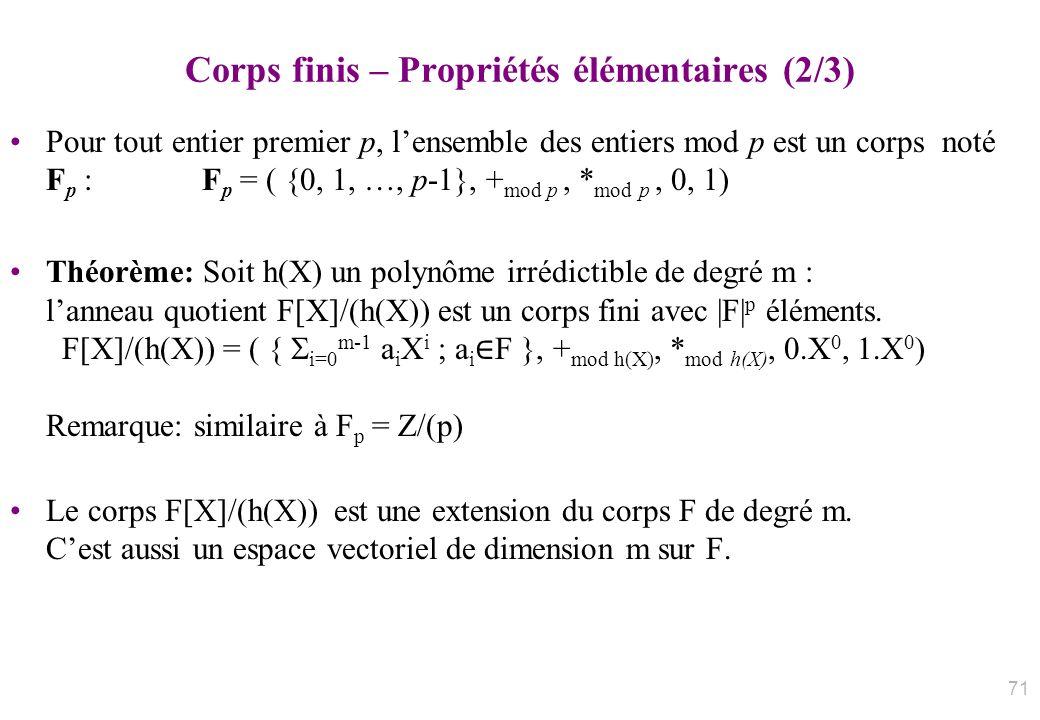 Corps finis – Propriétés élémentaires (2/3) Pour tout entier premier p, lensemble des entiers mod p est un corps noté F p :F p = ( {0, 1, …, p-1}, + m