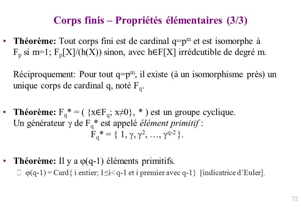Corps finis – Propriétés élémentaires (3/3) Théorème: Tout corps fini est de cardinal q=p m et est isomorphe à F p si m=1; F p [X]/(h(X)) sinon, avec