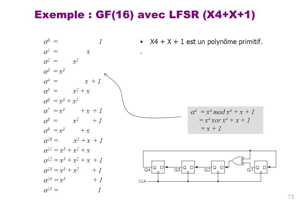 73 Exemple : GF(16) avec LFSR (X4+X+1) 0 = 1 1 = x 2 = x 2 3 = x 3 4 = x + 1 5 = x 2 + x 6 = x 3 + x 2 7 = x 3 + x + 1 8 = x 2 + 1 9 = x 3 + x 10 = x