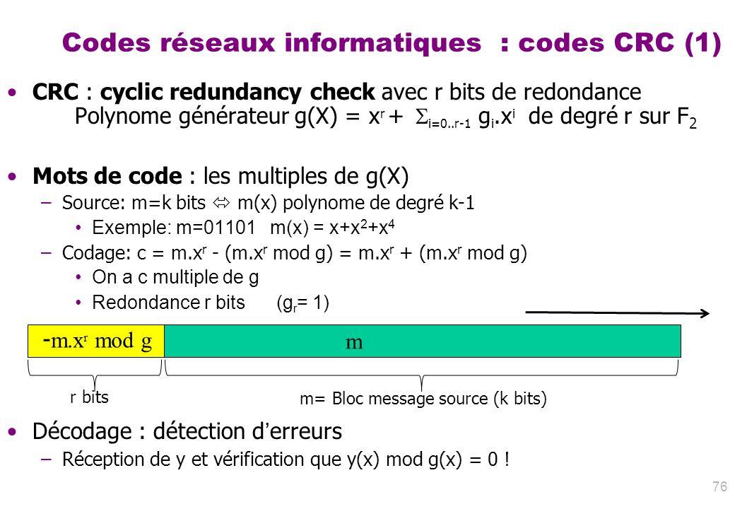 Codes réseaux informatiques : codes CRC (1) CRC : cyclic redundancy check avec r bits de redondance Polynome générateur g(X) = x r + i=0..r-1 g i.x i