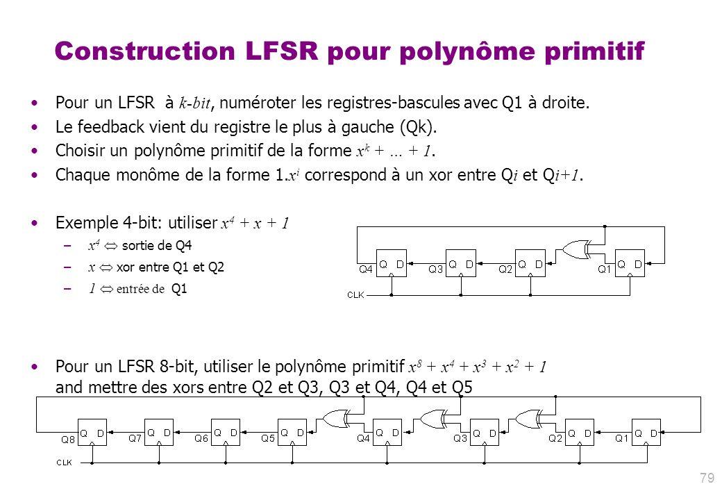 79 Construction LFSR pour polynôme primitif Pour un LFSR à k-bit, numéroter les registres-bascules avec Q1 à droite. Le feedback vient du registre le