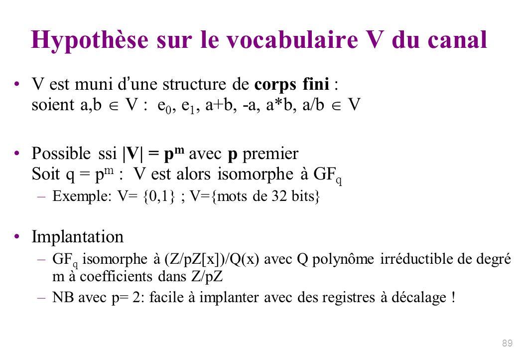 Hypothèse sur le vocabulaire V du canal V est muni dune structure de corps fini : soient a,b V : e 0, e 1, a+b, -a, a*b, a/b V Possible ssi |V| = p m