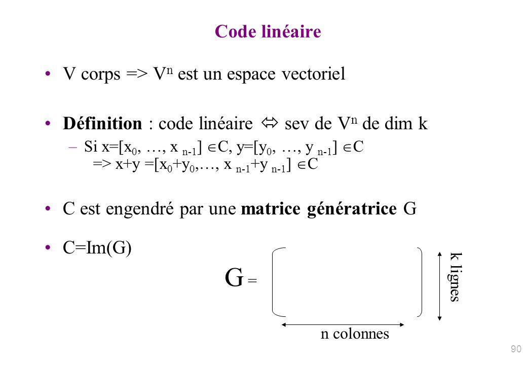Code linéaire V corps => V n est un espace vectoriel Définition : code linéaire sev de V n de dim k –Si x=[x 0, …, x n-1 ] C, y=[y 0, …, y n-1 ] C =>