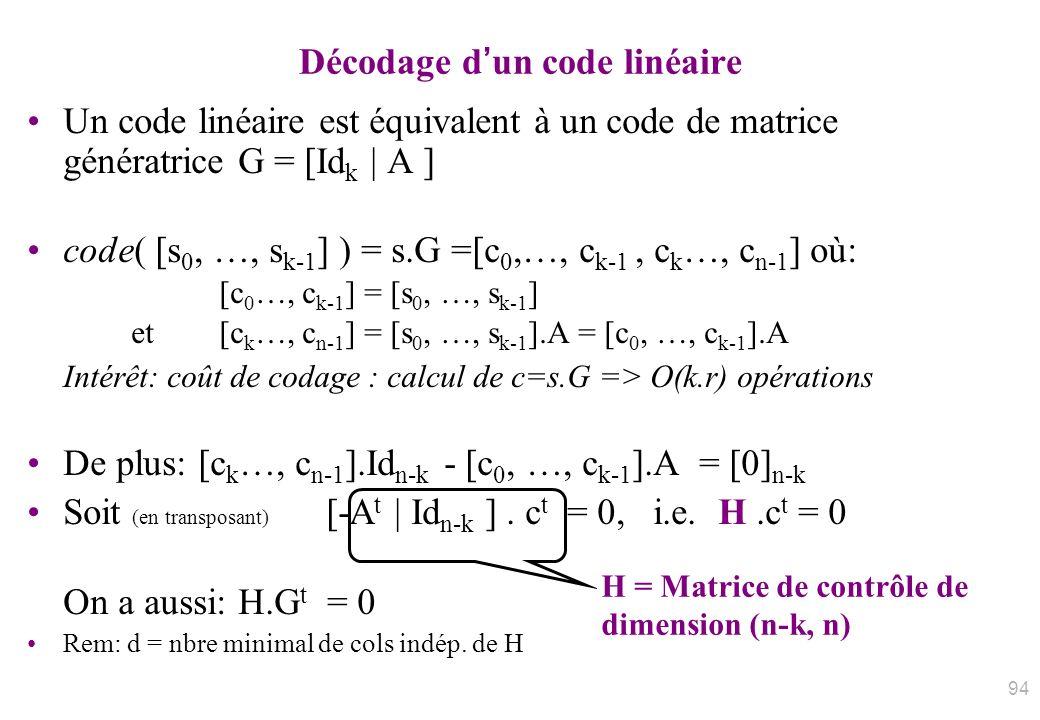 Décodage dun code linéaire Un code linéaire est équivalent à un code de matrice génératrice G = [Id k | A ] code( [s 0, …, s k-1 ] ) = s.G =[c 0,…, c