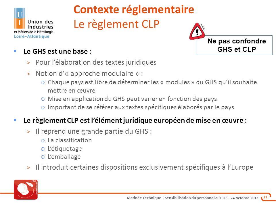 Matinée Technique - Sensibilisation du personnel au CLP – 24 octobre 2013 11 Le GHS est une base : > Pour lélaboration des textes juridiques > Notion
