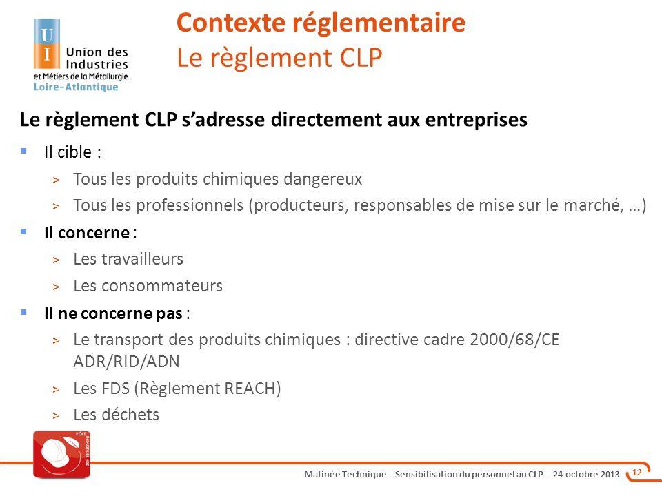 Matinée Technique - Sensibilisation du personnel au CLP – 24 octobre 2013 12 Le règlement CLP sadresse directement aux entreprises Il cible : > Tous l