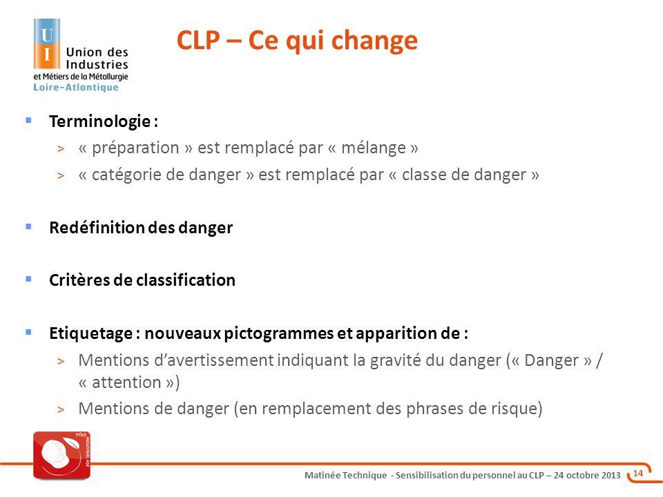 Matinée Technique - Sensibilisation du personnel au CLP – 24 octobre 2013 14 Terminologie : > « préparation » est remplacé par « mélange » > « catégor