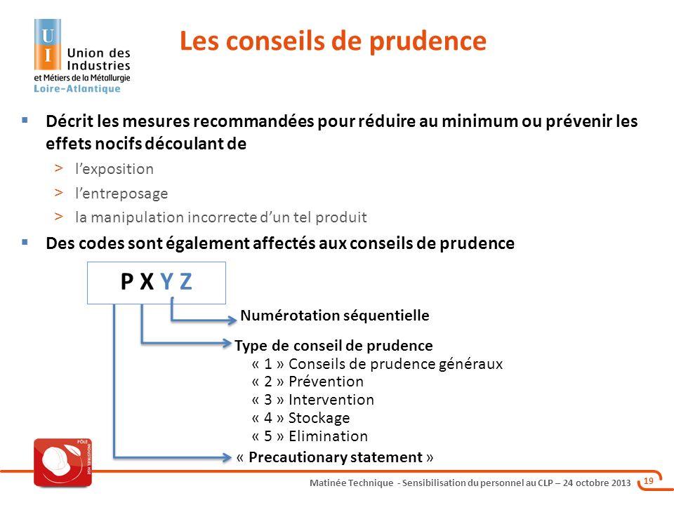 Matinée Technique - Sensibilisation du personnel au CLP – 24 octobre 2013 19 Les conseils de prudence Décrit les mesures recommandées pour réduire au