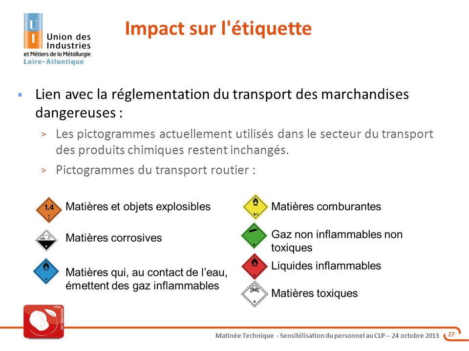 Matinée Technique - Sensibilisation du personnel au CLP – 24 octobre 2013 27 Lien avec la réglementation du transport des marchandises dangereuses : >