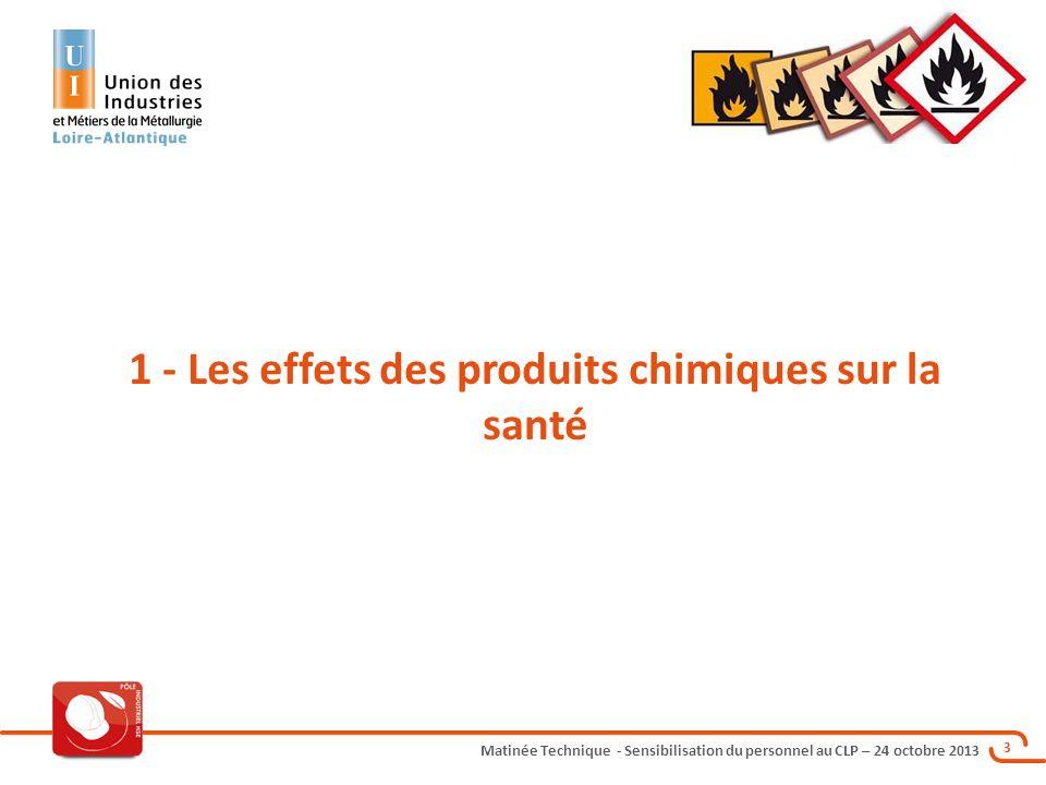 Matinée Technique - Sensibilisation du personnel au CLP – 24 octobre 2013 4 Terminologie Les agents chimiques dangereux = Les ACD Explosibles Comburants Extrêmement inflammables Facilement inflammables Inflammables Les agents chimiques dangereux = Les ACD + les CMR cat 1,2 : DANGERS PHYSIQUES DANGERS SANTE Rq: il sagit de la classification DSD/DPD Les produits chimiques dangereux = Les ACD + les CMR cat 1,2 : Très toxiques Toxiques Nocifs Corrosifs Irritants Sensibilisants Cancérogènes cat 3 Mutagènes cat 3 Reprotoxiques cat 3 Très toxiques Toxiques Nocifs Corrosifs Irritants Sensibilisants Cancérogènes cat 1, 2 et 3 Mutagènes cat 1, 2 et 3 Reprotoxiques cat 1, 2 et 3 Dangereux pour l environnement DANGERS ENVIRONNEMENT