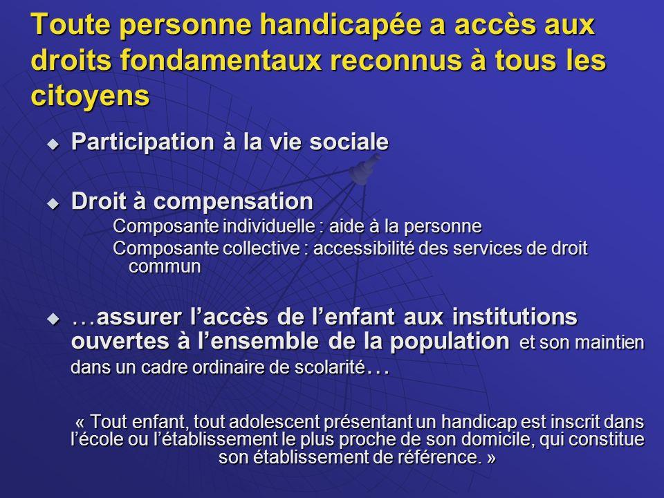 Trois principes clés Garantir aux personnes handicapées le libre choix de leur projet de vie grâce au droit de compensation des conséquences de leur handicap et à un revenu d existence favorisant une vie autonome digne.