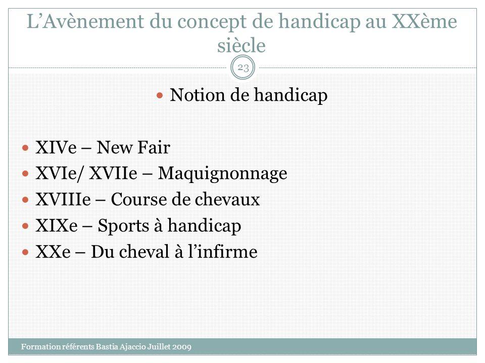 LAvènement du concept de handicap au XXème siècle Notion de handicap XIVe – New Fair XVIe/ XVIIe – Maquignonnage XVIIIe – Course de chevaux XIXe – Spo