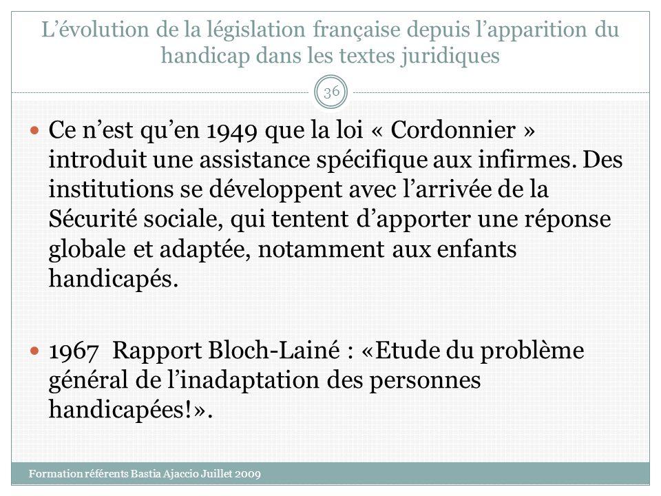 Lévolution de la législation française depuis lapparition du handicap dans les textes juridiques Ce nest quen 1949 que la loi « Cordonnier » introduit