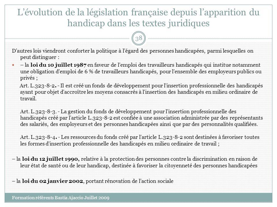 Lévolution de la législation française depuis lapparition du handicap dans les textes juridiques Dautres lois viendront conforter la politique à légar