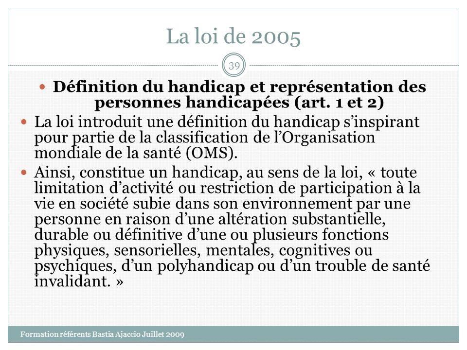 La loi de 2005 Définition du handicap et représentation des personnes handicapées (art. 1 et 2) La loi introduit une définition du handicap sinspirant